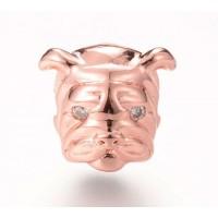 11mm Bulldog Focal Bead with Rhinestone Eyes, Rose Gold Tone