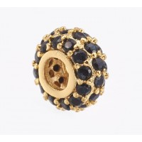 Pave Cubic Zirconia Bead, Black on Gold Tone, 8x4mm Small Rondelle