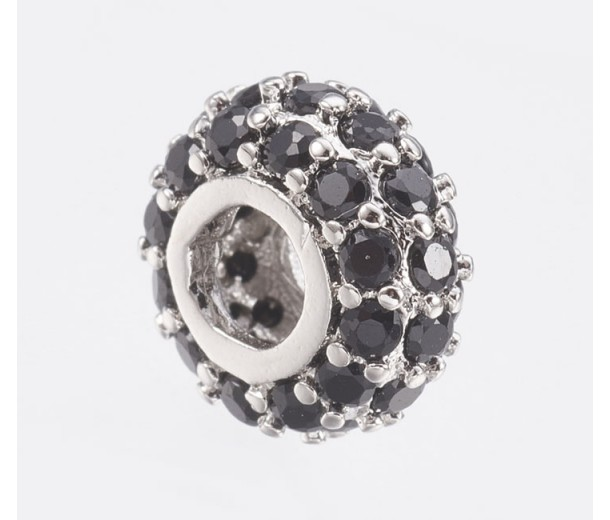 Pave Cubic Zirconia Bead, Black on Rhodium, 8x4mm Small Rondelle