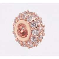 Pave Cubic Zirconia Bead, Rose Gold Tone, 8x4mm Small Rondelle