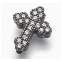 Pave Cubic Zirconia Bead, Gunmetal Tone, 15mm Budded Cross