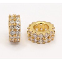 Pave Cubic Zirconia Bead, Gold Tone, 7mm Wheel Rondelle