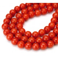 Dark Orange Mountain Jade Beads, 8mm Round