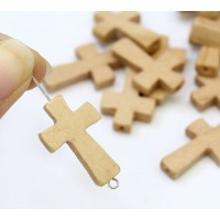 Light Brown Wood Cross Bead, 25x15mm, Drilled Lengthwise, 1 Piece