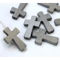 Light Grey Wood Cross Bead, 25x15mm, Drilled Lengthwise, 1 Piece