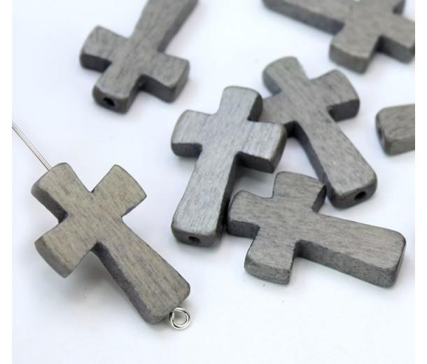 Light Grey Wood Cross Bead, 25x15mm, Drilled Lengthwise, 1 Piece