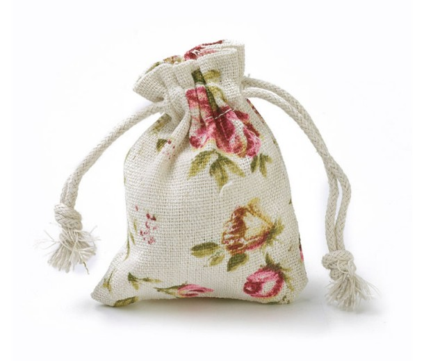 Polycotton Drawstring Pouch, Tea Rose Print on Beige, 3.5x3 inch