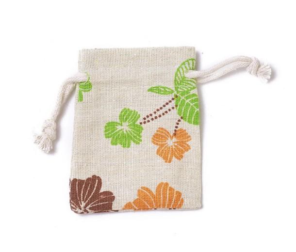 Polycotton Drawstring Pouch, Autumn Flower Print on Beige, 3.5x3 inch