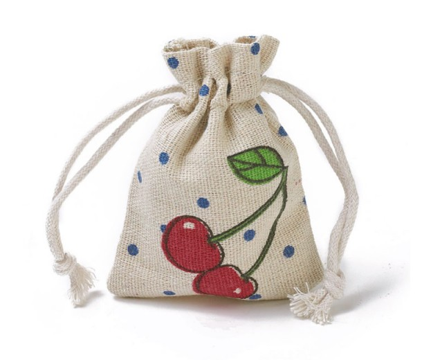 Polycotton Drawstring Pouch, Cherry Print on Beige, 3.5x3 inch