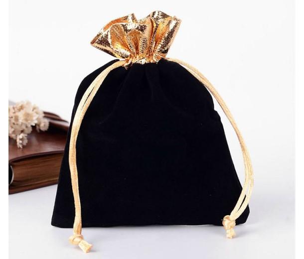 Velvet Drawstring Pouch, Black with Gold Trim, 5.5x4 inch