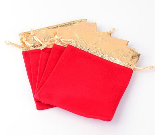 Velvet Drawstring Pouch, Red with Gold Trim, 5.5x4 inch