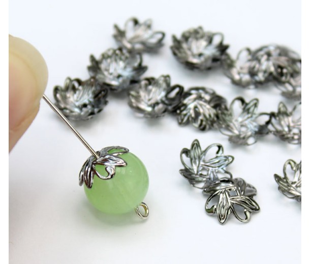 10mm Crossed Leaves Bead Caps, Gunmetal, Pack of 50