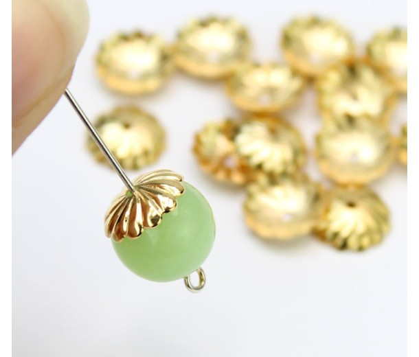 10mm Flat Swirl Bead Caps, Gold Plated, Pack of 20
