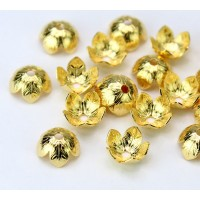 9mm Leaf Pattern Bead Caps, Gold Plated, Pack of 20