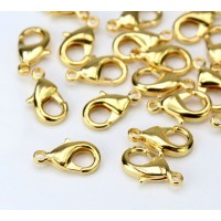 15x9mm Lobster Clasps, Gold Plated, Pack of 20
