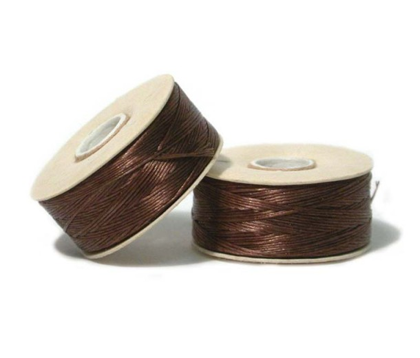 Size 0 Brown Nylon Nymo Thread, 115 yd Bobbin