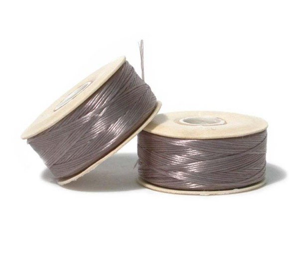 Size 0 Grey Nylon Nymo Thread, 115 yd Bobbin