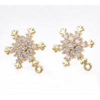 15mm Cubic Zirconia Snowflake Earstuds with Loop, Gold Plated, Sold by Pair