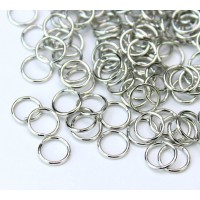 6mm 21 Gauge Open Jump Rings, Round, Rhodium Plated, Pack of 100