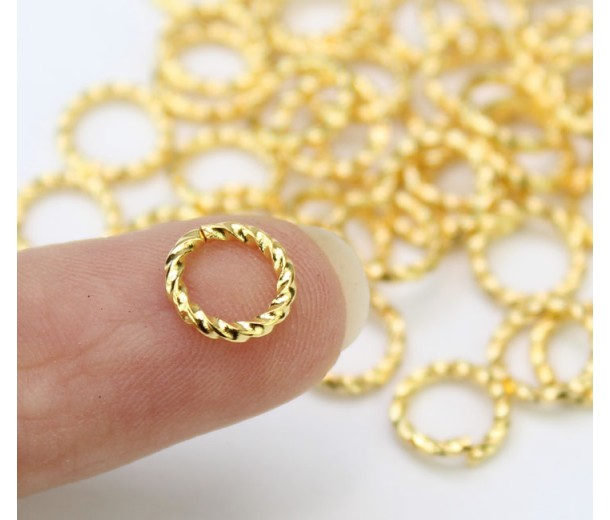 8mm 16 Gauge Twisted Jump Rings, Gold Plated, Pack of 50