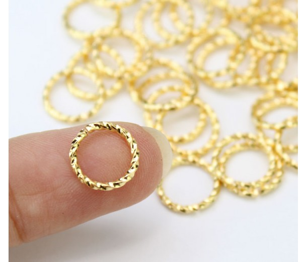 10mm 16 Gauge Twisted Jump Rings, Gold Plated, Pack of 50