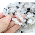 Rutilated Quartz Beads, White and Black, Large Chip