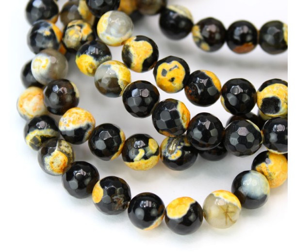 Agate Beads, Black and Orange, 6mm Faceted Round