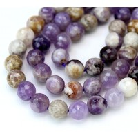 Sage Amethyst Beads, Natural Multicolor, 8mm Faceted Round