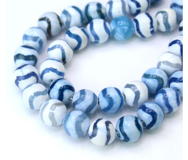 Dzi Agate Beads, Blue and White Wave, 10mm Round