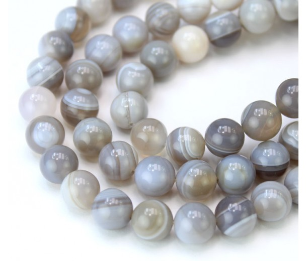 Striped Agate Beads, Natural Grey, 10mm Round