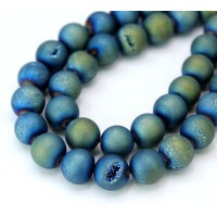 Druzy Agate Beads, Bluegreen AB, 10mm Round