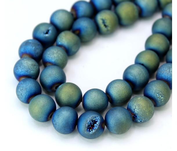 Druzy Agate Beads, Bluegreen AB, 10mm Round