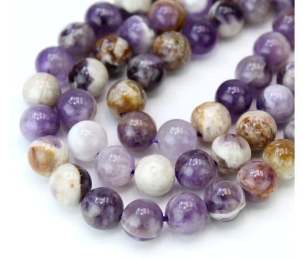 Sage Amethyst Beads, Natural Multicolor, 8mm Round