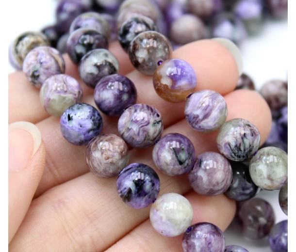 Charoite Beads, Natural Light Purple, 7-8mm Round