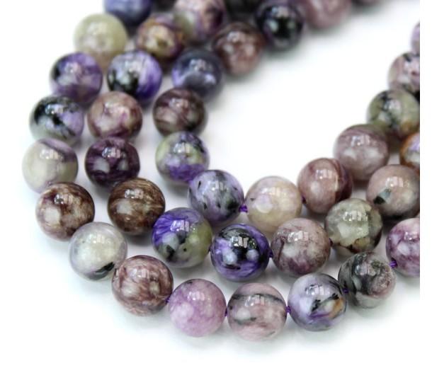Charoite Beads, Natural Light Purple, 8mm Round