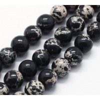 Impression Jasper Beads, Black, 8mm Round