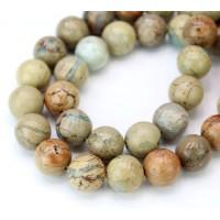 -Snakeskin Jasper Beads, 12mm Round