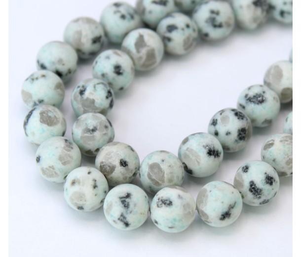 Matte Sesame Jasper Beads, Light Teal, 10mm Round