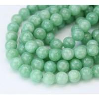 African Jade Beads, Natural, Light Green, 8mm Round