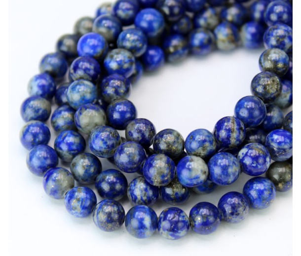 Lapis Lazuli Beads with Veins and Inclusions, 6mm Round