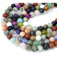 Mixed Gemstone Beads, Multicolor, 8mm Round