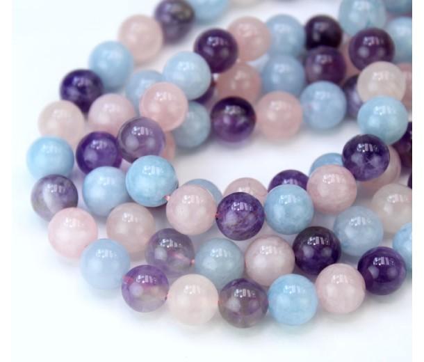 Amethyst, Rose Quartz and Aquamarine Bead Mix, 8mm Round