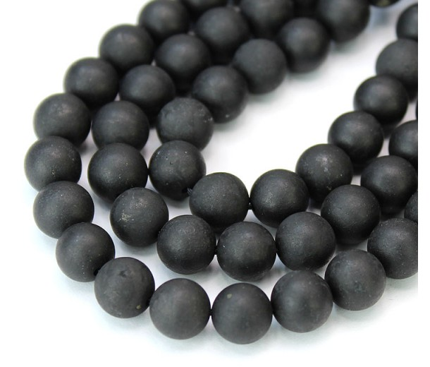 Matte Shungite Beads, Natural, 8mm Round