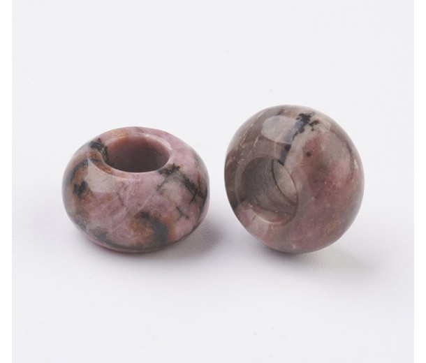 Rhodonite Large Hole Beads, Natural, 14x8mm Rondelle, 6mm Hole