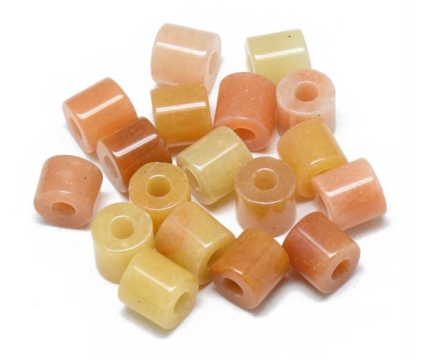 Topaz Jade Beads, 9x9mm Column, 3mm Hole, Pack of 5