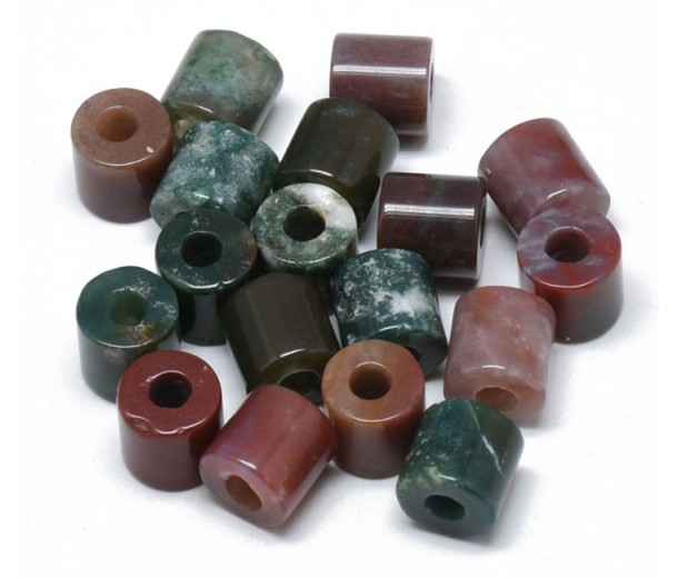 Indian Agate Beads, Natural, 9x9mm Column, 3mm Hole, Pack of 5