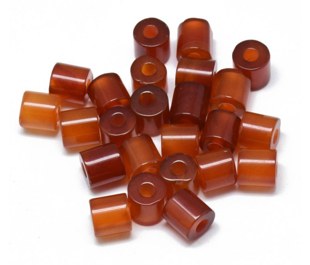 Carnelian Beads, Natural, 9x9mm Column, 3mm Hole, Pack of 5