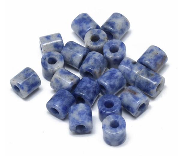 Blue Spot Jasper Beads, 9x9mm Column, 3mm Hole, Pack of 5