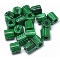 Imitation Malachite Beads, 9x9mm Column, 3mm Hole, Pack of 5