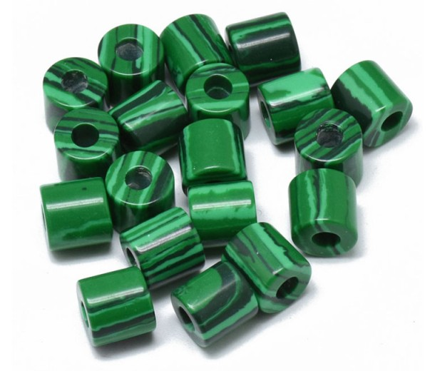 Imitation Malachite Beads, 9x9mm Column, 3mm Hole, Pack of 5